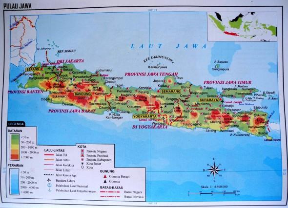 Общая карта острова Ява