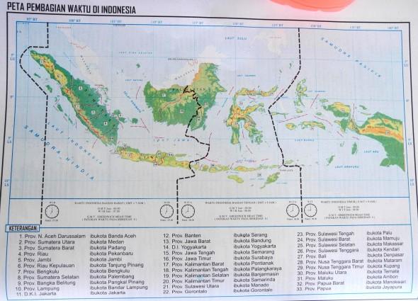 Карта часовых поясов Индонезии